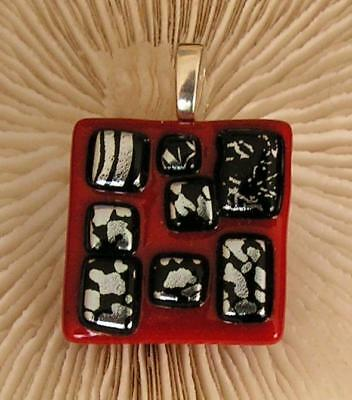 """HANDMADE DICHROIC + ART GLASS FREEFORM PENDANT : """" RED with BLACK + SILVER !"""""""