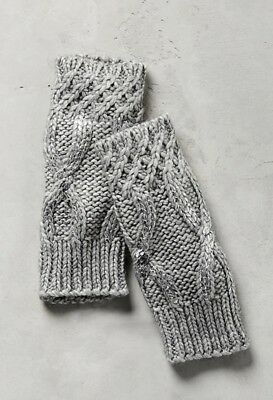 NEW Anthropologie Gray Cable Knit Silver Met Fingerless Glove Arm Warmer
