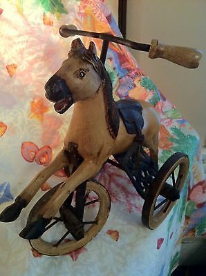 Victorian Antique Toy Replica Vtg Wooden Tan Horse Tricycle Hand Carved 1960's