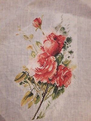 Lanarte Red Roses Bouquet Completed Cross Stitch on Linen