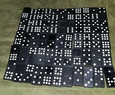 55 Vintage Wooden Domino Black Cardinal Double Nine