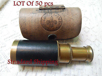 "Antique 6"" LOT of 50 pcs Brass Pocket Telescope Finish with Leather case"