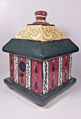 Rare Ceramic Vintage Footed Bird House COOKIE JAR / CANISTER By WCL hand painted