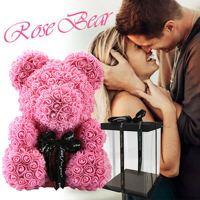 WR Pink Rose Bear Flower Teddy Toy 40cm Gift Box Set For Valentine's Day 521 520
