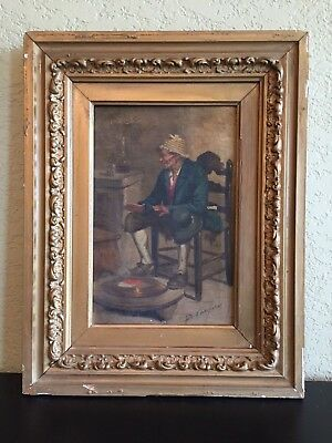 Very Old Oil Painting On Canvas Portrait Old Man Signed by D. Vaccarro