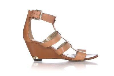 0b5099873e99 SAM EDELMAN Wedge Sandals Size 9 Tan Brown Leather Gladiator Heels Strappy