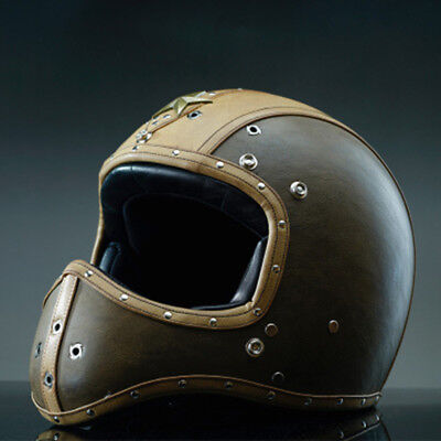 Full Face Cruiser Helmets >> Full Face Motorcycle Helmet Handmade Top Leather Street Cruiser
