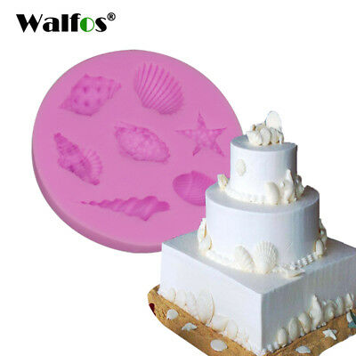 WALFOS 7 hole Sea Shell Shape Chocolate Silicon Mold Fondant Cake Decoration