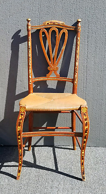 Vintage Rustic French Country Ornate Distressed Carved Wood Accent Chair