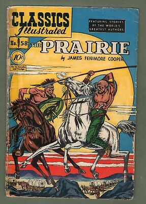 Classics Illustrated Comic book 1949 early edition The Prairie # 58. #500
