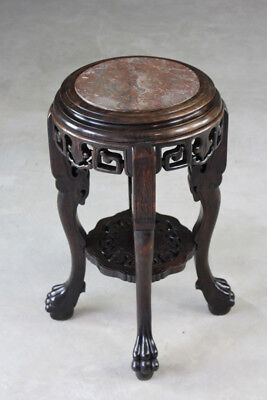 Antique Marble Top Chinese Plant Stand