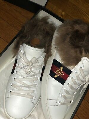 fe5fc93dd00 NEW GUCCI BEE White Ace Sneaker with Wool Fur Shoes 498199 (Size 39 ...
