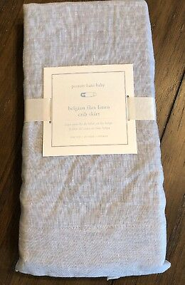 NEW Pottery Barn Kids Belgian Flax Linen Crib Skirt GRAY