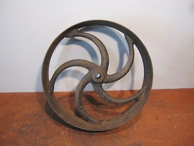 "Vintage Cast Iron Curved Spoke Industrial Wheel Gear Hand Crank 18"" Hit Miss"