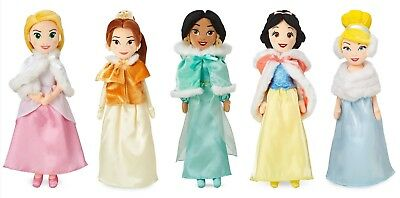 Disney Snow White Cinderella Belle Rapunzel Jasmine Winter Cape Plush Doll Set