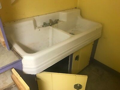 1940s Vintage Richmond Double Basin Porcelain Over Cast Iron Sink