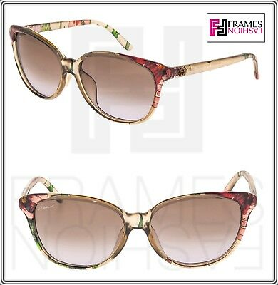 cf41c43ed9f9f GUCCI FLORAL SILK Cat Eye GG3635NFS Beige Translucent Sunglasses 3635 Asian  Fit