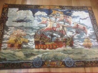 Vintage Velvet Wall Hanging France Tapestry Rug Pirate Ships 68 By 43