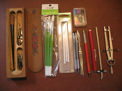 Drafting Art Lot Wood Box Quill Pen Pickett Compass Cross Pen Pencil Paint Brush