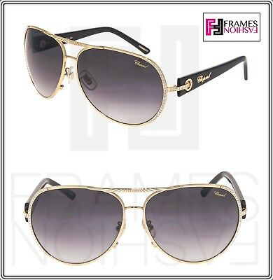 CHOPARD L HEURE DU DIAMANT Aviator Gold Black Crystal SCH940S Sunglasses 940 3343af4bae1
