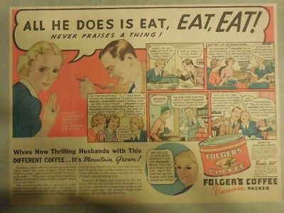 "Folger's Coffee Ad: ""All He Does Is Eat, Eat, Eat !"" ! from 1930's-40's"