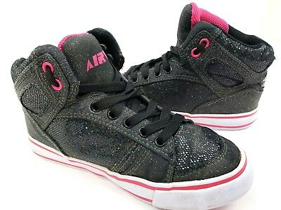 399d1b65e636 Airwalk Girls Size 13 Sneakers Lace Up Skater Shoes Athletic Black/Pink  Glitter