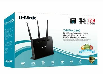 New D-LINK Dual Band Wireless AC1600 ADSL2+/VDSL2 Modem Router with VoIP