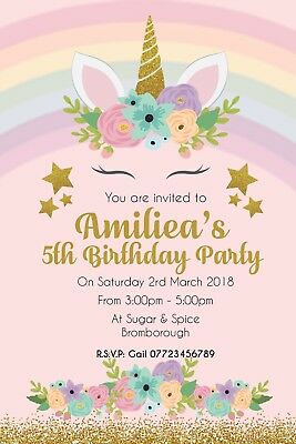 PINK UNICORN Personalised Birthday Party Invitation Invite X15 INC ENVELOPES