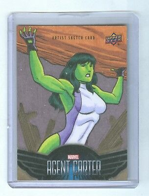 2018 Marvel Agent Carter Sketch Card 1 Of 1 She-Hulk 1/1 Brendon Brian Fraim