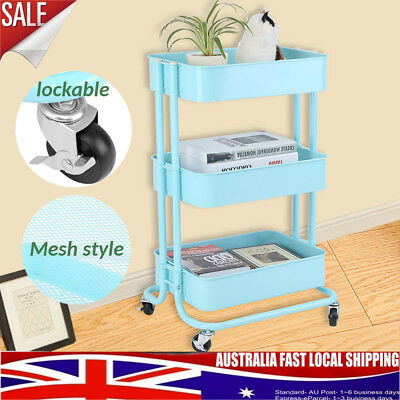Kitchen Trolley Cart 3 Tier Mesh Shelf Rolling Wheels Useful Storage Rack Iron
