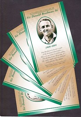 1908-2001 Celebrating The Life Of Sir Donald Bradman Set Of 5 Postcards - Mint