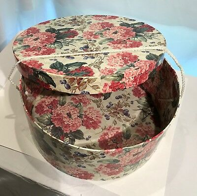 Vintage Floral Hat Box Shabby Pink Floral and Ivy Sturdy Hat Wig or Travel Case