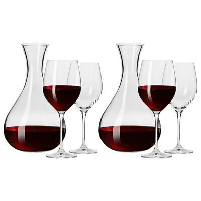 6pc Krosno Glass Harmony Collection Red/White Wine 450ml Glasses/1.6L Carafe Set
