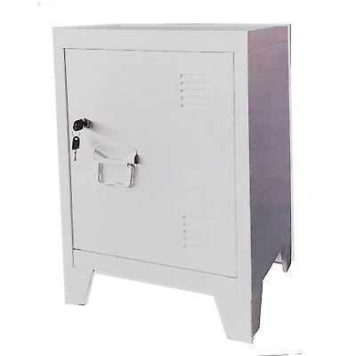 White Metal Steel Stationary Cupboard Filing Locker Storage Cabinet 40x30x57cm