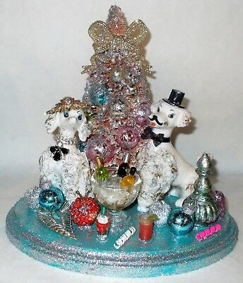 Vintage Reclaimed Spaghetti Poodle New Year Party Brush Tree Bottles Drinks Bead