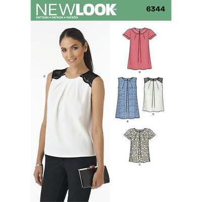 5a2554d782a New Look Sewing Pattern 6344 Misses Tops Two Lengths sleeveless Size 8-20  Uncut