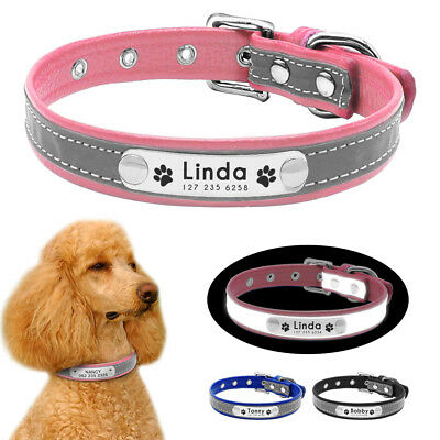 Puppy Small Dog Collar Personalized Nameplate Reflective PU Leather Free Engrave