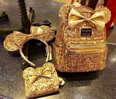 Disney Parks Loungefly Sequined Backpack, Wallet & Headband Rose Gold