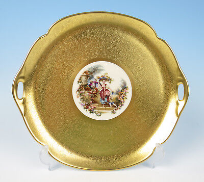 """Pickard CAKE PLATE 723 ROSE & DAISY Gold Encrusted 11.25"""" Serving Tray Porcelain"""