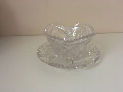 Antique ABP Cut Glass Mayonnaise Bowl and Plate Dish American Brilliant