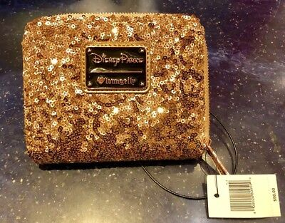 Disney Parks Loungefly Sequined Wallet Rose Gold