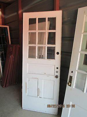 Exterior Vintage Wood Door 9 Panes Glass 2 Vertical Panels 1 Horizontal We Ship!