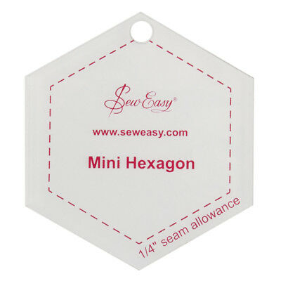 "SEW EASY MINI HEXAGON TEMPLATE 2.5INCH / ""2.5 x 2.5"" PATCHWORK QUILTING BNEW"