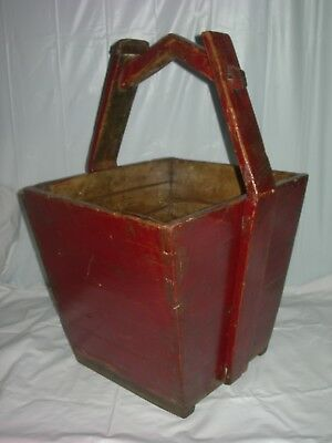 Primitive Antique~SQUARE WOODEN BUCKET-Worn RED Paint~DOVETAIL CORNERS~Folk Art