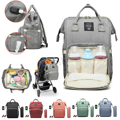 LEQUEEN Baby Waterproof Nappy Diaper Bag Mummy Maternity Travel USB Backpack New