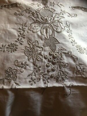 handmade vintage embroidered edge tablecloth  handwork 50s era 250 X 175cm