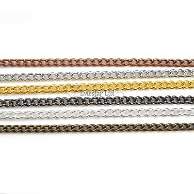Metal Fine Curb Chains DIY Jewellery Making, Various Colours (AAB-2)