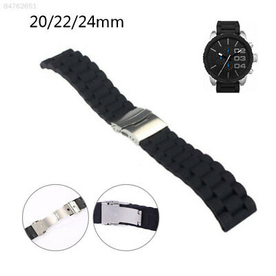 CEDC 20-24mm Watch Band Rubber Bracelet Black Silicone Replacement Wrist Band