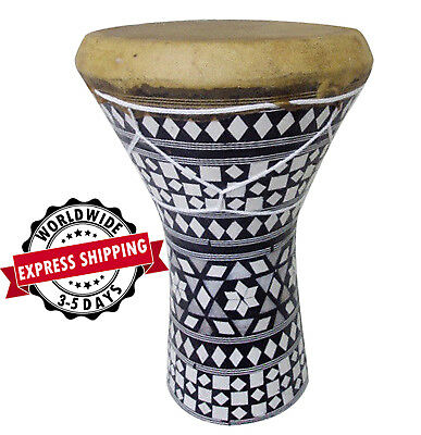 "Medium Egyptian Wooden Inlaid Drum-Tabla-Dumback 6.5/"" Head 11.75/"" High Quality"