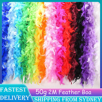 2M Feather Boa Fluffy Party Costume Dress Up Craft Party Wedding Decor AU STOCK